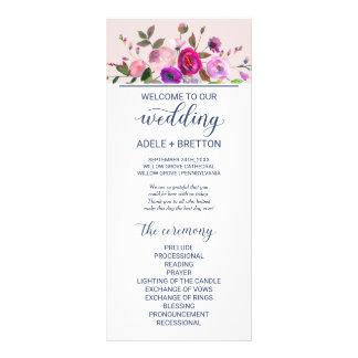 Romantisches Garten-Hochzeits-Programm Werbekarte