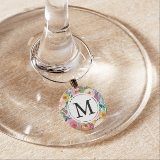 Romantisches Gartenwatercolor-Blumen-Monogramm Weinglas Anhänger