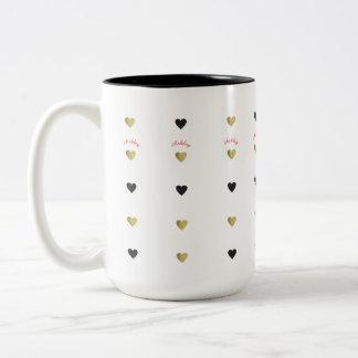 romantisches Gold u. schwarze Liebeherzen mit Zweifarbige Tasse