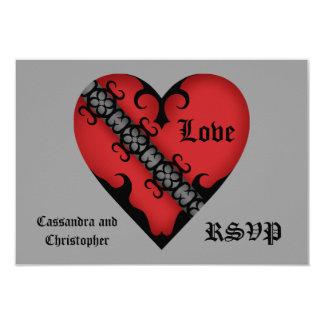 Romantisches gotisches mittelalterliches rotes 8,9 x 12,7 cm einladungskarte