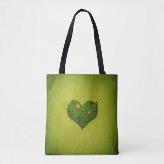 Romantisches Gras-Herz - ganz vorbei - drucken Sie Tasche