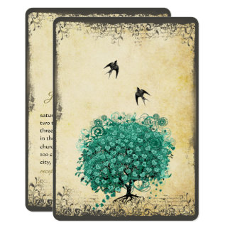 Romantisches Herz-Blatt-aquamarine Karte