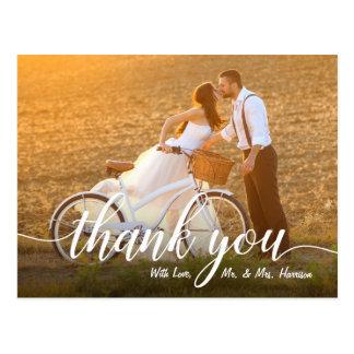 Romantisches Hochzeits-Foto danken Ihnen Postkarte