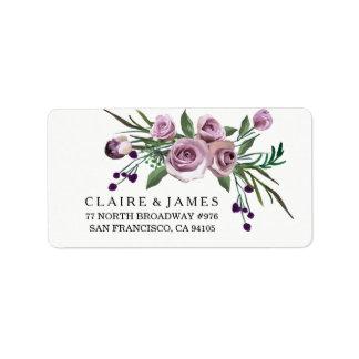 Romantisches lila Rosen-Hochzeits-mit Adressetiketten