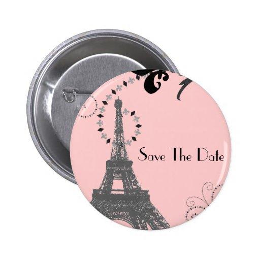 Romantisches Paris Vintages Wedding Save the Date Anstecknadel