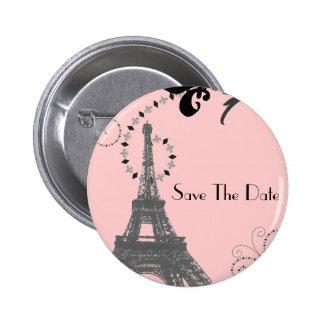 Romantisches Paris Vintages Wedding Save the Date Runder Button 5,7 Cm