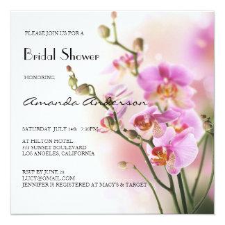 Romantisches rosa Orchideen-Brautparty Quadratische 13,3 Cm Einladungskarte
