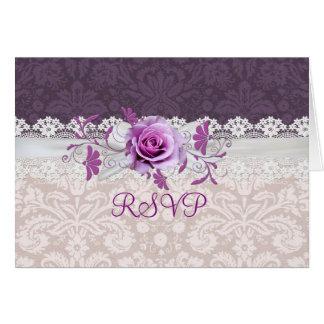 Romantisches Rosen-Band-lila Damast UAWG-Karte Karte