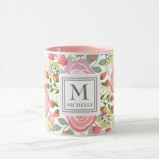 Romantisches Rosennamen-Initialenmonogramm Tasse