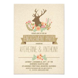 Romantisches rustikales Verlobungs-Party der 12,7 X 17,8 Cm Einladungskarte
