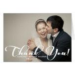 Romantisches Skript-Hochzeits-Foto danken Ihnen zu Mitteilungskarte