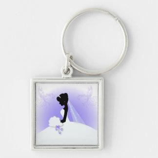 romantisches Vintages Braut-Silhouette-Brautparty Silberfarbener Quadratischer Schlüsselanhänger