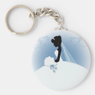 romantisches Vintages Braut-Silhouette-Brautparty Standard Runder Schlüsselanhänger