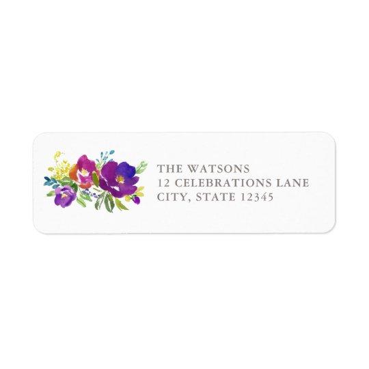 Romantisches violettes Blumenadressen-Etikett