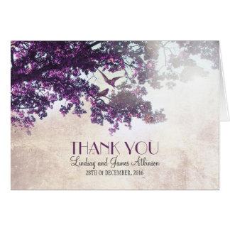 Romantisches wenig danken Ihnen, mit lila Baum zu Karten