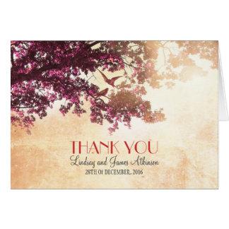 Romantisches wenig danken Ihnen, mit rosa Baum zu Mitteilungskarte