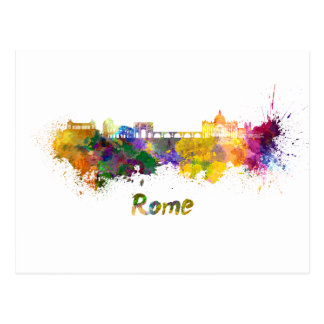 Rome skyline im Watercolor Postkarte