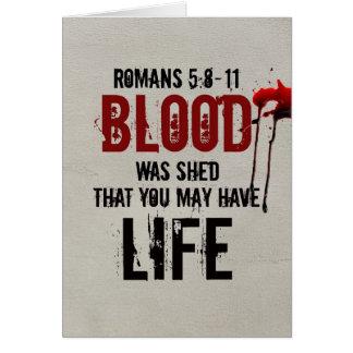 Römer-5:8 - Blut 11 wurde für Sie verschüttet Karte