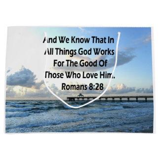 RÖMER-8:28 BLAUE HIMMEL-SCHRIFTS-VERS GROßE GESCHENKTÜTE