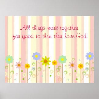 Römer-8:28 Rosa-Streifen-und Blumen-christliches Poster