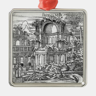 Römische Ruinen Quadratisches Silberfarbenes Ornament