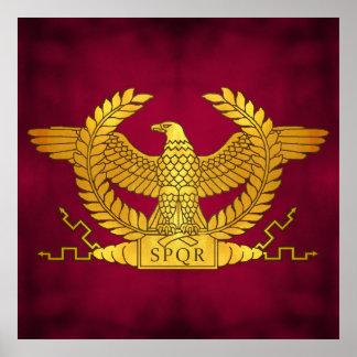 Römischer goldener Adler auf Lila Poster
