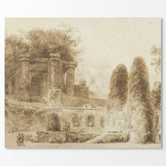 Römischer Park mit Brunnen durch Jean-Honore Geschenkpapier
