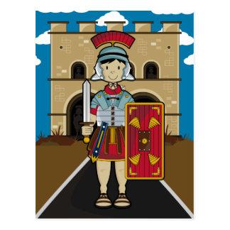 Römischer Soldat, der Fort-Postkarte schützt Postkarte