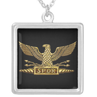 Römisches Eagle-Gold Halskette Mit Quadratischem Anhänger