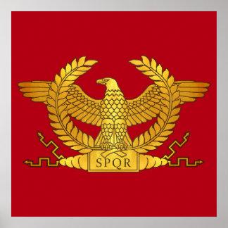 Römisches goldenes Eagle auf Rot Poster