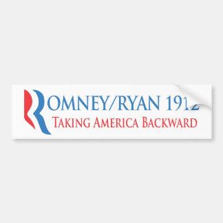 Romney/Ryan 1912 - Amerika rückwärts nehmend Autoaufkleber