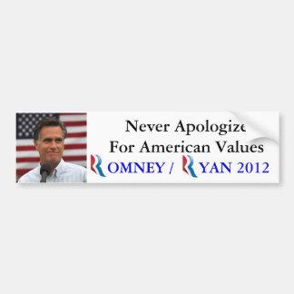 Romney/Ryan 2012 entschuldigen nie sich für Autoaufkleber