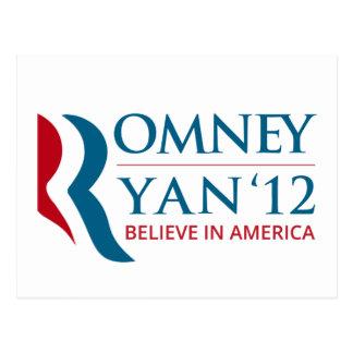 Romney/Ryan 2012 für US Präsidenten und VP Postkarte