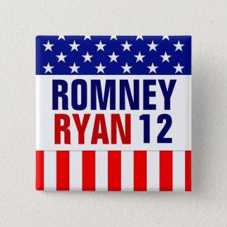 Romney Ryan 2012 Quadratischer Button 5,1 Cm