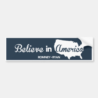 Romney Ryan glauben an dunkelblauen Stoßdämpfer Autoaufkleber