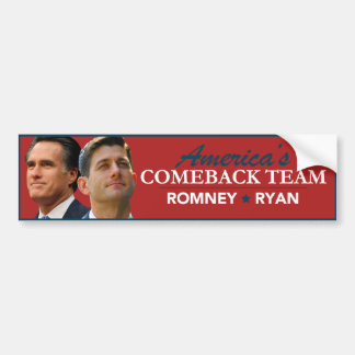 Romney Ryan Porträt-Amerikas Come-back-Team-Rot Autoaufkleber