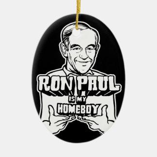 Ron Paul ist meine Homeboy-Verzierung Ovales Keramik Ornament