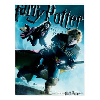 Ron und Ginny auf Besen 1 Postkarte