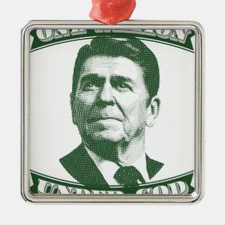 Ronald Reagan eine Nation unter Gott Quadratisches Silberfarbenes Ornament