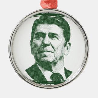 Ronald Reagan eine Nation unter Gott Rundes Silberfarbenes Ornament
