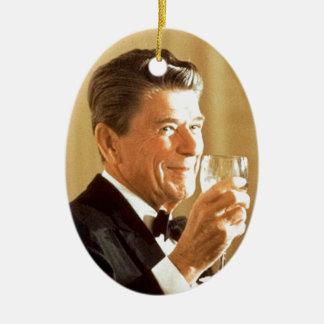 Ronald Reagan-Toast Ovales Keramik Ornament