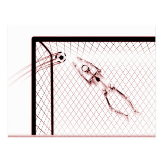 RÖNTGENSTRAHL-SKELETON FUSSBALL-TORMANN - ROT POSTKARTE