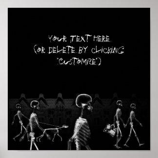 Röntgenstrahl-Skelettemitternachtsstroll-Schwarzes Poster