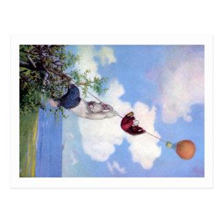 Roosevelt-Bären steigen von HeißluftBallon ab Postkarte