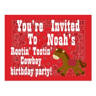 Rootin Tootin Cowboy-Geburtstags-Party Einladung Postkarte