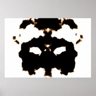 Rorschach Test einer Tinten-Fleck-Karte auf Weiß Poster