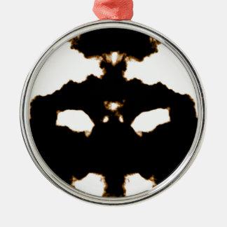 Rorschach Test einer Tinten-Fleck-Karte auf Weiß Silbernes Ornament