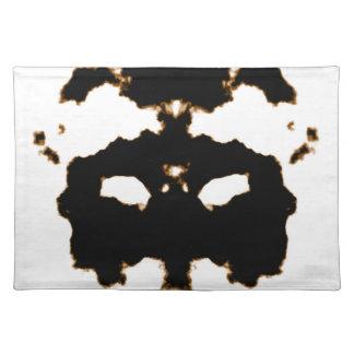 Rorschach Test einer Tinten-Fleck-Karte auf Weiß Stofftischset