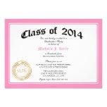 Rosa Abschluss-Party des Diplom-2014 Personalisierte Einladungskarte