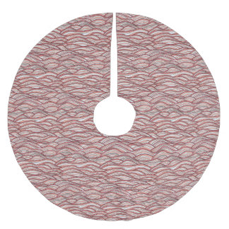 Rosa abstraktes Wellenmuster. Seebeschaffenheit Polyester Weihnachtsbaumdecke